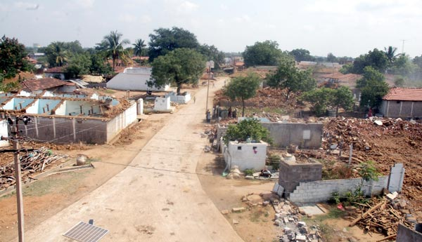 Houses under demolition, After Hon.CM KCR adopted the village, He decided to build the houses under the Double Bedroom houses for poor scheme