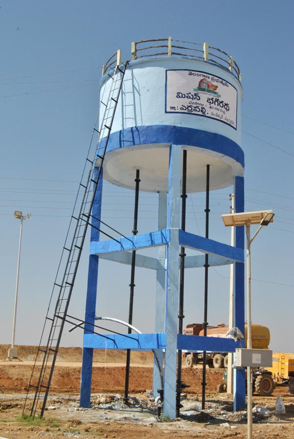 Mission Bhagiratha Water Tank, The pilot project which the Chief Minister is riding on for 2019 elections.